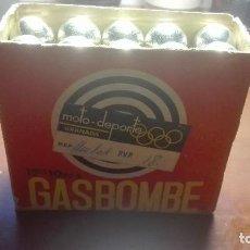 Militaria: CAJA DE BOMBONAS DE GAS ANTIGUAS.GASBOMBE. Lote 90138660