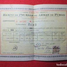 Militaria: CERTIFICADO PARA ESCOPETA DEL BANCO DE PRUEBAS DE ARMAS EIBAR AÑO 1970 CALIBRE CARTUCHOS RECÁMARAS. Lote 110573767
