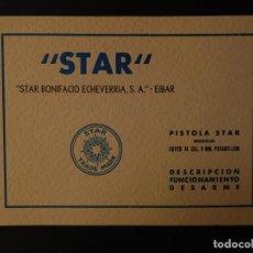 Militaria: MANUAL PISTOLA STAR MODELO SUPER B 9MM PARABELLUM.-CON VISTA EXPLOSIVA INTERIOR.-. Lote 124514607