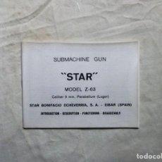Militaria: MANUAL SUBMACHINE GUN STAR MODEL Z - 63 CALIBRE 9MM PARABELLUM ( LUGER ). Lote 126104471
