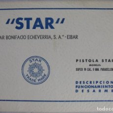 Militaria: LIBRO DE INSTRUCCIONES MANUAL PISTOLA STAR SUPER B 9 MM PARABELLUM 9MM P. Lote 128515387