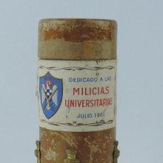 Militaria: CAJA DE DETONADOR COMPLETO PARA PETARDO EXPLOSIVO, DEDICADO A LAS MILICIAS UNIVERSITARIAS, HIJOS DE. Lote 159638326