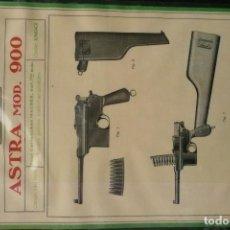 Militaria: ANTIGUA LAMINA/FOLLETO DESCRIPTIVO (PLASTIFICADO) PISTOLA RIFLE-ASTRA MOD.900. Lote 168147768