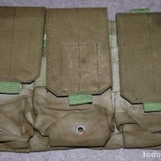 Militaria: CARTUCHERA MILITAR TRIPLE DE LONA VERDE . Lote 170350116