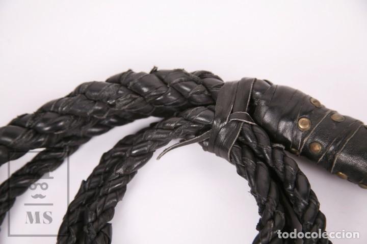 Militaria: Pareja de Látigos de Cuero Trenzado - Negro y Marrón - Longitud 2,78 m - #LRV - Foto 7 - 171401852