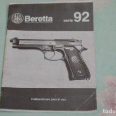 Militaria: MANUAL DE USUARIO PISTOLA BERETTA 92 FS CAL. 9 MM. PB., GUARDIA CIVIL. ULTIMA UNIDAD. Lote 195274480