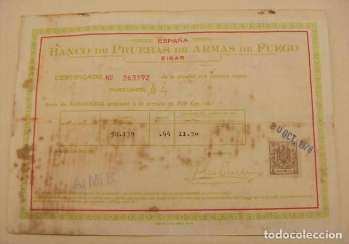 BANCO DE PRUEBAS DE ARMAS DE FUEGO ARMA DE AVANCARGA 1978 (Militar - Otros Artículos Relacionados con Armas)
