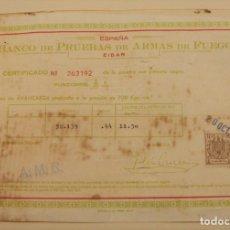 Militaria: BANCO DE PRUEBAS DE ARMAS DE FUEGO ARMA DE AVANCARGA 1978. Lote 196595148