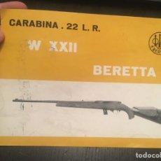 Militaria: (M2) CATALOGO DE ARMAS - CARABINA 22 LR W XXII BERETTA, DESPLEGABLE, ILUSTRADO. Lote 199156642