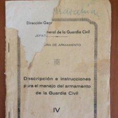 Militaria: ANTIGUO MANUAL INSTRUCCIONES GUARDIA CIVIL FUSIL MAUSER ESPAÑOL. Lote 205818321