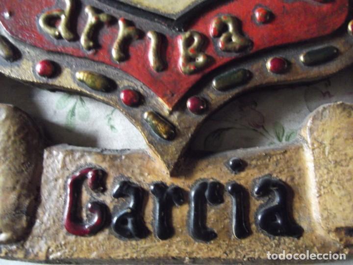 """Militaria: Escudo De Armas y Heráldico """" GARCIA """" de Madera antiguo con información al dorso - Foto 4 - 214859463"""