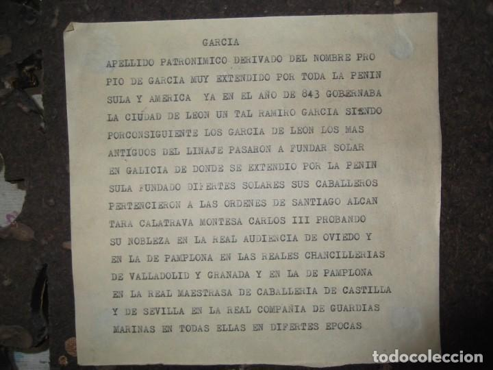 """Militaria: Escudo De Armas y Heráldico """" GARCIA """" de Madera antiguo con información al dorso - Foto 6 - 214859463"""