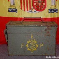 Militaria: CAJA METÁLICA PARA MUNICIÓN 12,7 X 99 OTAN. SANTA BARBARA. EJERCITO ESPAÑOL 1980.. Lote 215259475