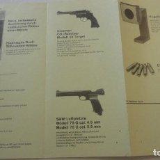 Militaria: FOLLETO.PISTOLAS.CROSMAN CO REVOLVER MODELL 38-S&W-LUFTPISTOLE.JOHANNES JAKOB MAIER.W.GERMANY. Lote 218157055