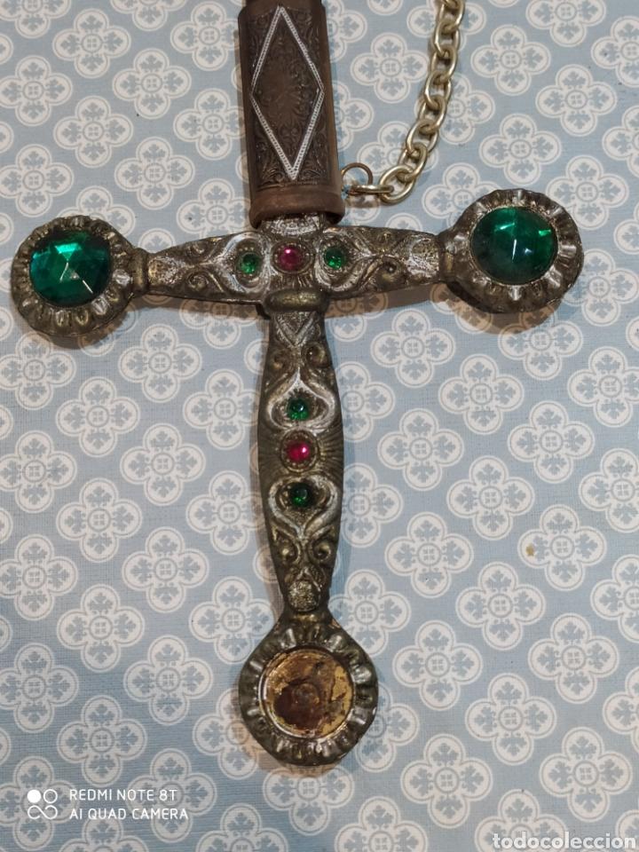 Militaria: Preciosa daga antigua con mango de metal y todo tipo de detalles con funda original - Foto 2 - 221501867