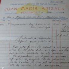 Militaria: PLACENCIA GUIPUZCOA FABRICA DE ARMAS DE FUEGO JUAN MARIA ARIZAGA FACTURA ESCOPETA 1929. Lote 275899638