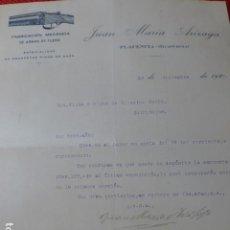 Militaria: PLACENCIA GUIPUZCOA FABRICA DE ARMAS DE FUEGO JUAN MARIA ARIZAGA CARTA COMERCIAL 1929. Lote 275899683