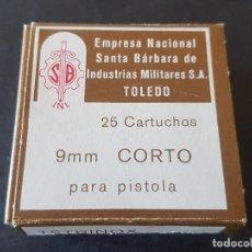 Militaria: CARTUCHOS 9MM CORTO EMPRESA NACIONAL SANTA BÁRBARA DE INDUSTRIAS TOLEDO S.A. CAJA 25U VACÍA. Lote 286781073