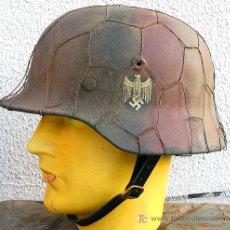 Militaria: CASCO ALEMÁN M40 WH 1 CALCA, CAMO NORMANDIA + RED GALLINERO.. Lote 27165658