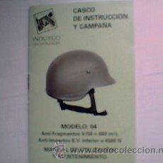 Militaria: CASCO MODELO 04 ANTIFRAGMENTOS Y ANTI-IMPACTOS. MANUAL DE UTILIZACION Y MANTENIMIENTO. Lote 114131694