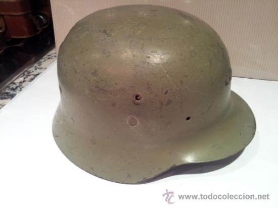 Militaria: antiguo casco militar con interior - Foto 5 - 35779635