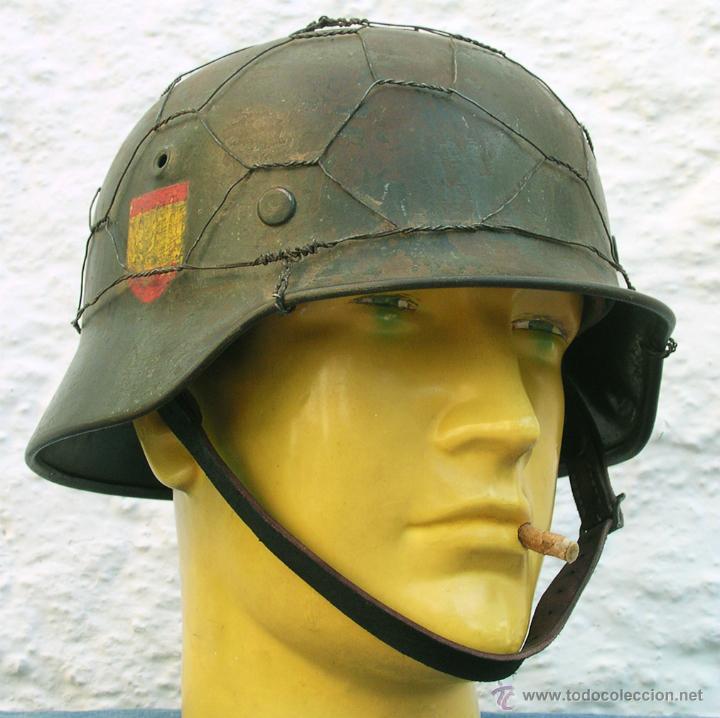 Militaria: Casco Alemán M40 División Azul, restaurado. - Foto 2 - 191169501