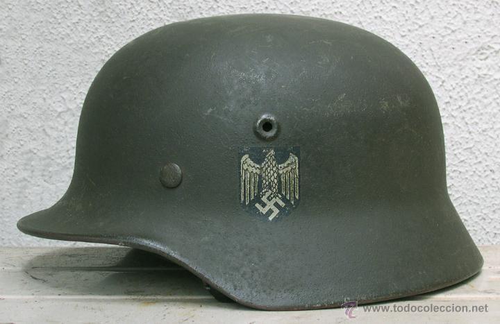 Militaria: Casco Alemán M40 División Azul, restaurado. - Foto 11 - 191169501