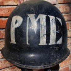 Militaria: CASCO US M1 CON CASCO INTERIOR NEGRO POLICIA MILITAR EJERCITO URUGUAY AÑOS 1970. Lote 49321703