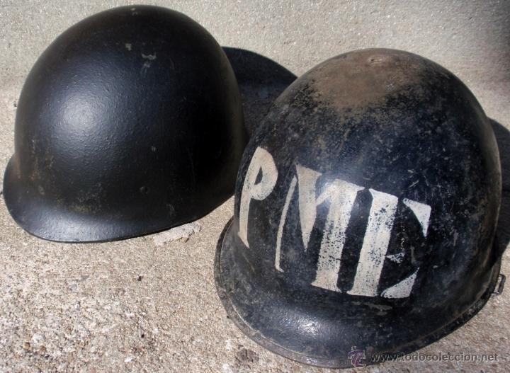 Militaria: Casco Us M1 con casco Interior Negro Policia Militar Ejercito Uruguay Años 1970 - Foto 2 - 49321703