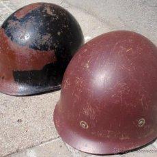 Militaria: WW II ERA US M1 SET SHELL & LINER VENEZUELAN ARMY CAMOUFLAGED 1950S HELMET RARE. Lote 54357750