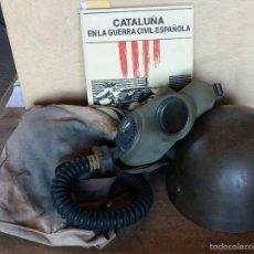 Militaria: CASCO CHECO USADO EN LA GUERRA CIVIL, MÁSCARA ANTIGÁS Y LIBRO CATALUÑA EN LA GUERRA CIVIL ESPAÑOLA. Lote 42503999