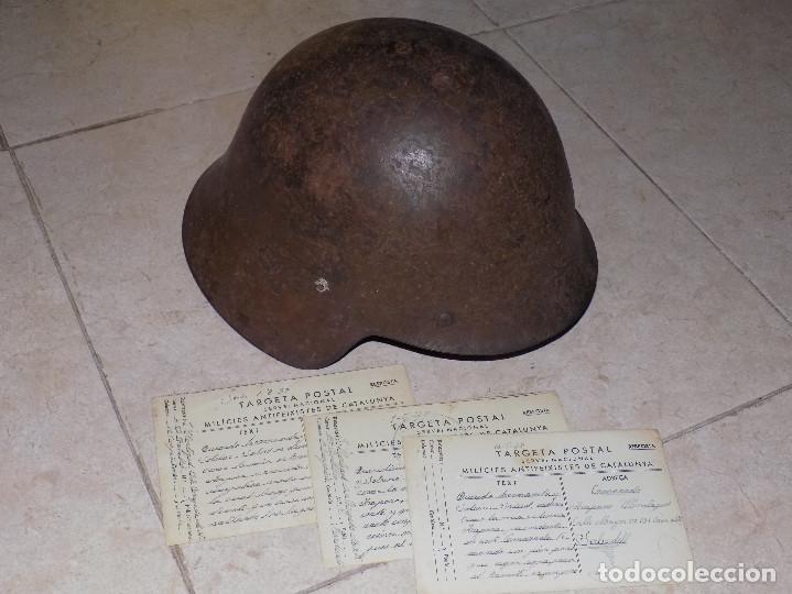 CASCO TRUBIA REPUBLICANO Y TRES POSTALES DE MILICIAS ANTIFASCISTAS (Militar - Cascos Militares )