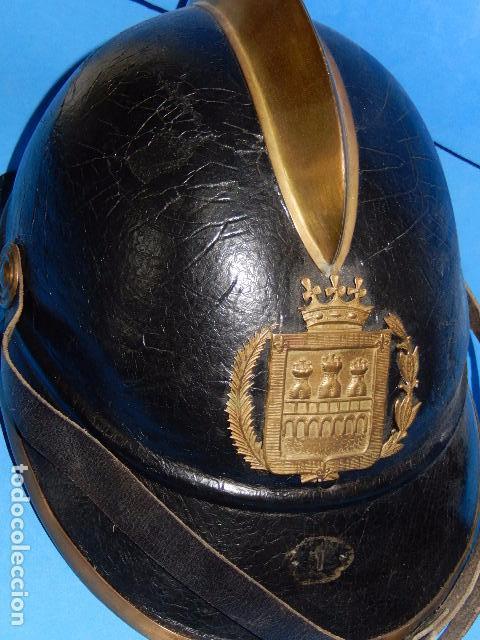 Militaria: España. Antiguo casco bombero. Logroño. Fabricación alemana por J. G. Lieb. Biberach. Riss - Foto 2 - 98943971