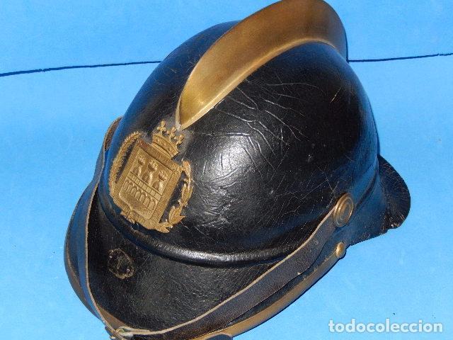 Militaria: España. Antiguo casco bombero. Logroño. Fabricación alemana por J. G. Lieb. Biberach. Riss - Foto 3 - 98943971