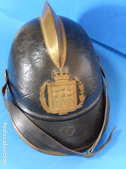 Militaria: España. Antiguo casco bombero. Logroño. Fabricación alemana por J. G. Lieb. Biberach. Riss - Foto 6 - 98943971