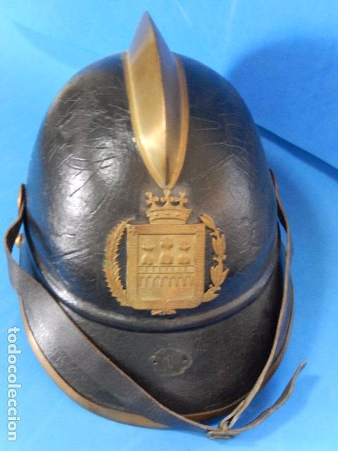 Militaria: España. Antiguo casco bombero. Logroño. Fabricación alemana por J. G. Lieb. Biberach. Riss - Foto 7 - 98943971