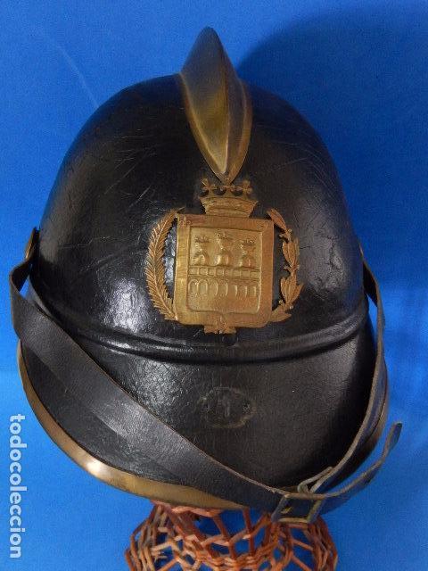 Militaria: España. Antiguo casco bombero. Logroño. Fabricación alemana por J. G. Lieb. Biberach. Riss - Foto 8 - 98943971