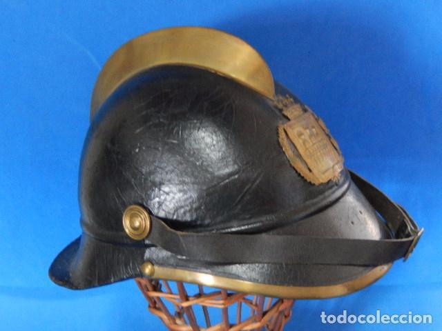 Militaria: España. Antiguo casco bombero. Logroño. Fabricación alemana por J. G. Lieb. Biberach. Riss - Foto 9 - 98943971
