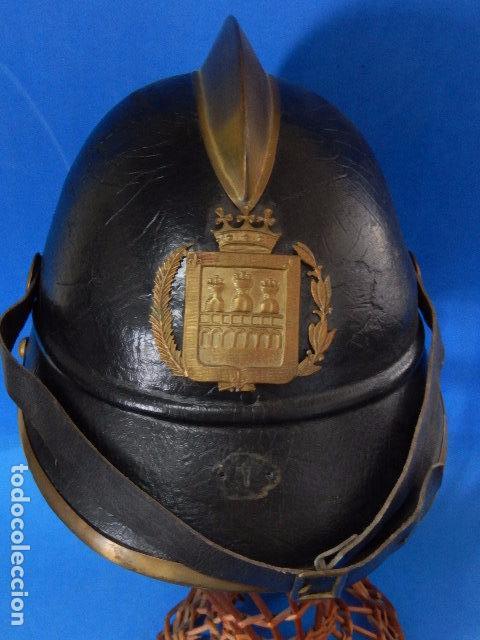 Militaria: España. Antiguo casco bombero. Logroño. Fabricación alemana por J. G. Lieb. Biberach. Riss - Foto 18 - 98943971