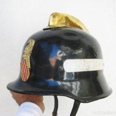 Militaria: INEDITO NUNCA VISTO! CASCO ANTIGUO BOMBERO ESCUDO VALENCIA HIERRO LATON Y PIEL . Lote 103501051