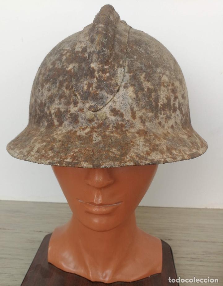 Militaria: UNA JOYA - CASCO ADRIAN FRANCES DE LAS BRIGADAS INTERNACIONALES - GUERRA CIVIL - BATALLA DEL JARAMA - Foto 4 - 121445795