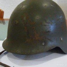Militaria: CASCO TRUBIA DE LA GUERRA CIVIL ESPAÑOLA REUTILIZADO EN POSTGUERRA. INTERIOR Y BARBOQUEJO ORIGINAL. Lote 124323231
