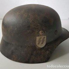 Militaria: CASCO DE WAFFEN SS ,M42 NEGRO ,TERCER REICH , MUY BONITO. Lote 128300047