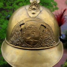 Militaria: ARGENTINIAN FIREMAN POMPIER FIREFIGHTER 1885 DRESS BRASS HELMET WITH RED PLUME CASCO BOMBERO. Lote 139764850