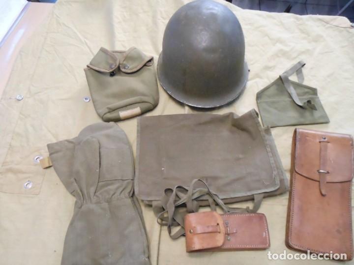 CASCO ORIGINAL DE COMBATE FRANCES Y EQUIPAMIENTO DE LA GUERRA DE ARGELIA (Militar - Cascos Militares )