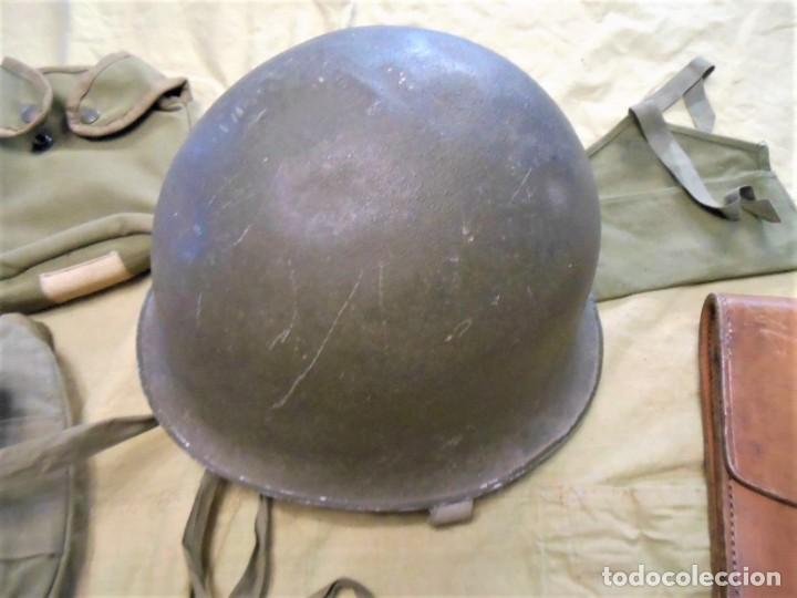 Militaria: Casco original de combate Frances y equipamiento de la Guerra de Argelia - Foto 2 - 189077405