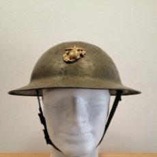 Militaria: CASCO DE COMBATE USA MODELO 1917 A1 CON INSIGNIA USMC ORIGINAL WW2. Lote 197619035