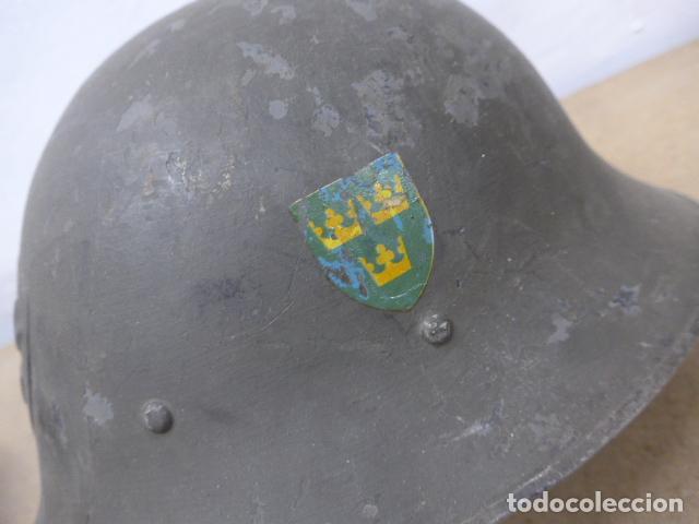 Militaria: Antiguo casco sueco modelo 1921 con doble calca, original, suecia. Completo. - Foto 3 - 206586231