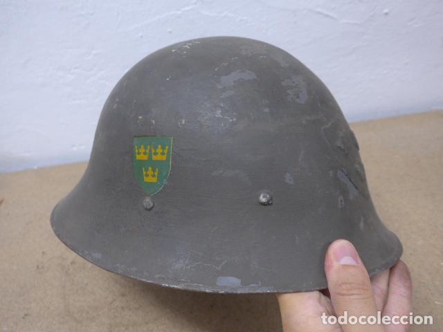 Militaria: Antiguo casco sueco modelo 1921 con doble calca, original, suecia. Completo. - Foto 4 - 206586231