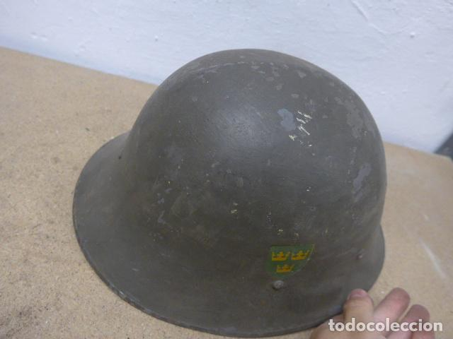Militaria: Antiguo casco sueco modelo 1921 con doble calca, original, suecia. Completo. - Foto 5 - 206586231